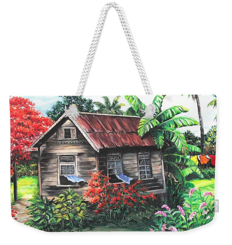 Caribbean House Weekender Tote Bag featuring the painting Home Sweet Home by Karin Dawn Kelshall- Best