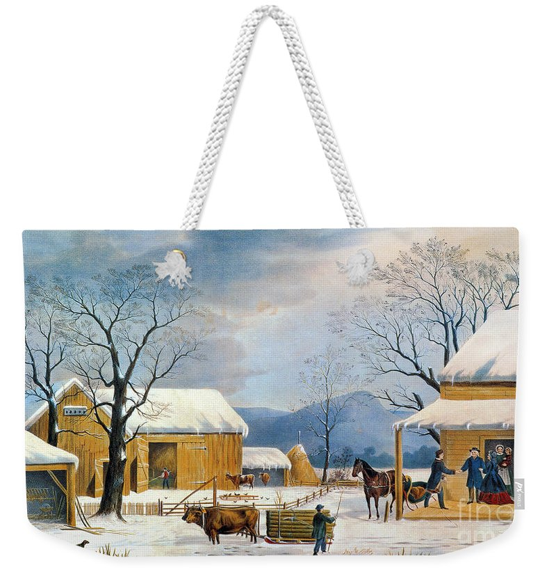 1867 Weekender Tote Bag featuring the photograph Home To Thanksgiving, 1867 by Granger