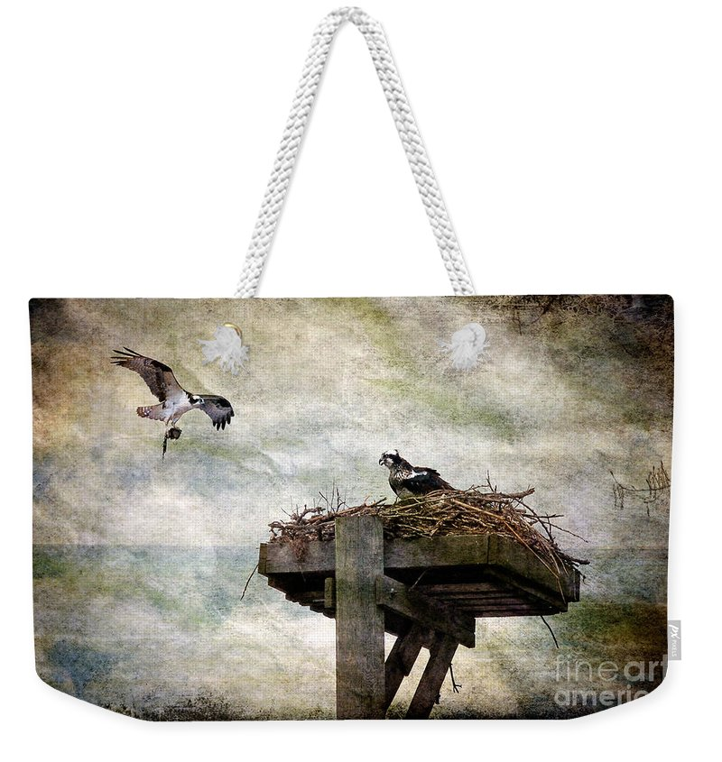 Osprey Weekender Tote Bag featuring the photograph Homebuilding by Lois Bryan