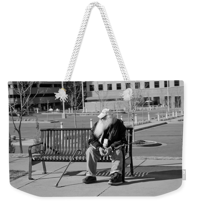 Portrait Weekender Tote Bag featuring the photograph Homeless Man by Angus Hooper Iii