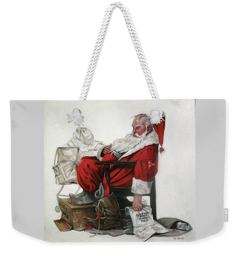 Santa Weekender Tote Bag featuring the painting Homeless Santa by Margot King