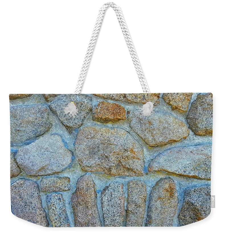Outdoor Wall Of Designed Granite Stones Weekender Tote Bag featuring the photograph Homestead Stonework by Harriet Harding