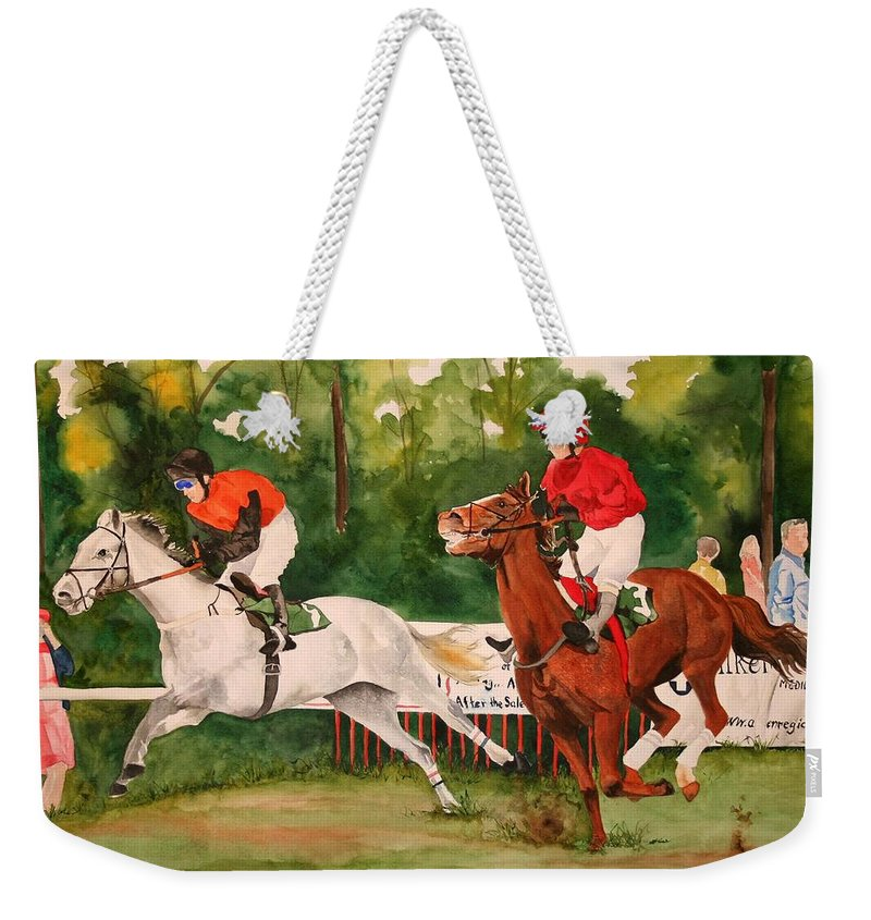 Racing Weekender Tote Bag featuring the painting Homestretch by Jean Blackmer
