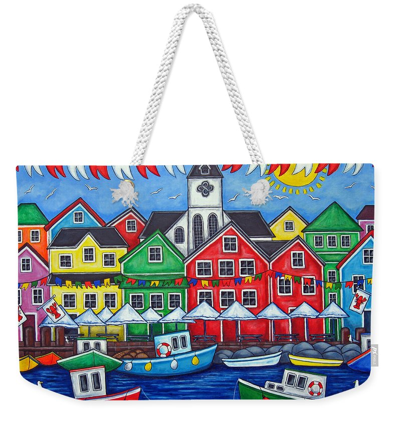 Boats Canada Colorful Docks Festival Fishing Flags Green Harbor Harbour Weekender Tote Bag featuring the painting Hometown Festival by Lisa Lorenz