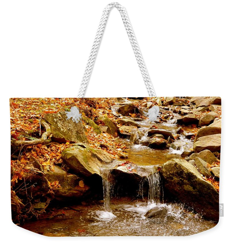 Autumn Weekender Tote Bag featuring the photograph Hometown Series - Babbling Brook by Arlane Crump