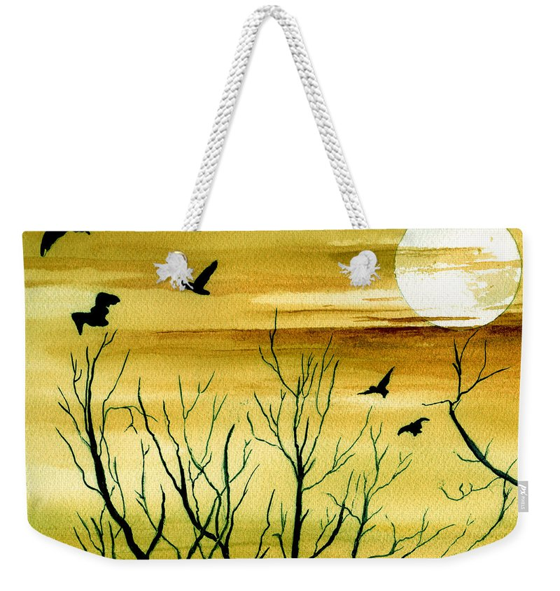 Landscape Watercolor Birds Ravens Crows Trees Sun Sunset Sky Clouds Weekender Tote Bag featuring the painting Homeward by Brenda Owen