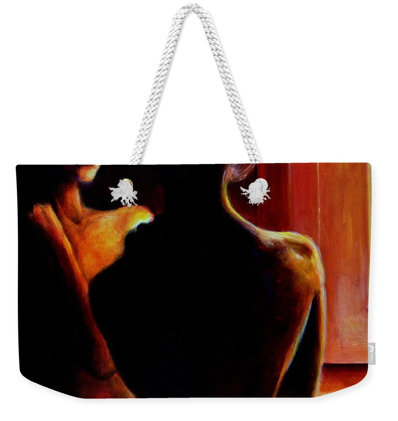 Nude Weekender Tote Bag featuring the painting Honestly by Jason Reinhardt