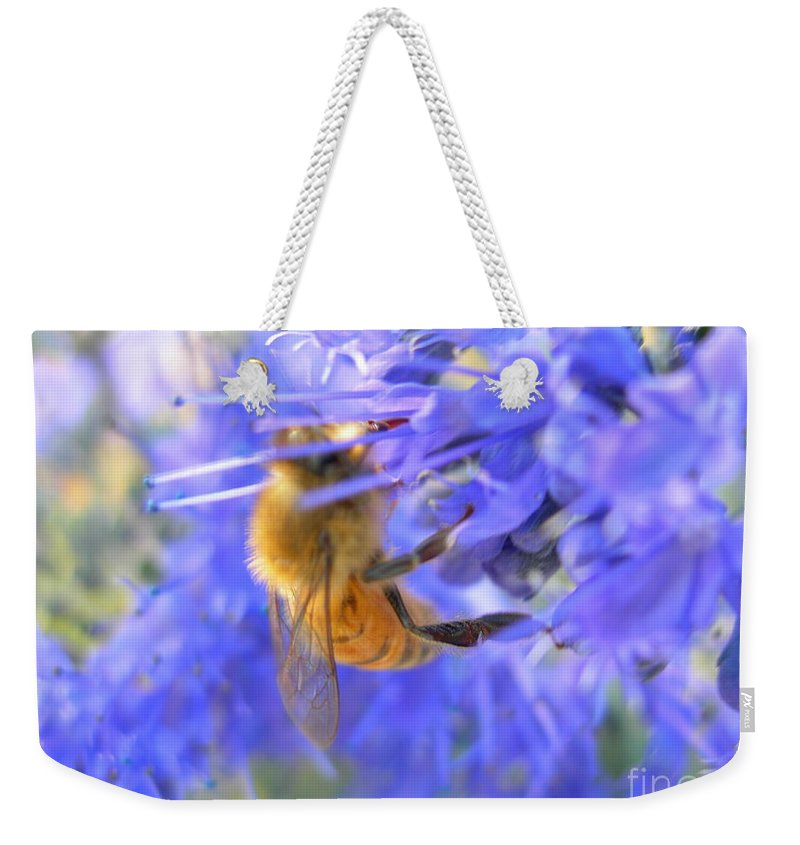 Honey Weekender Tote Bag featuring the photograph Honey Bee by Joanne Young