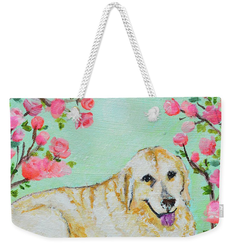 Pet Portrait Weekender Tote Bag featuring the painting Honey Flowers Everyday by Ashleigh Dyan Bayer