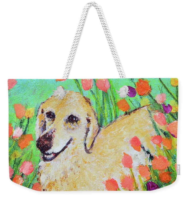 Pet Portrait Weekender Tote Bag featuring the painting Honey In The Flower Fields by Ashleigh Dyan Bayer