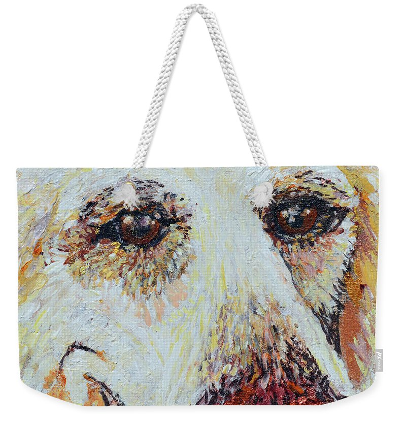 Pet Portraits Weekender Tote Bag featuring the painting Honey Love by Ashleigh Dyan Bayer
