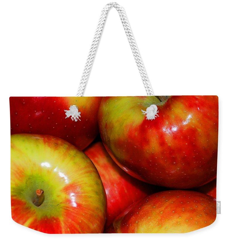 Apple Weekender Tote Bag featuring the photograph Honeycrisp Apples by Nancy Mueller
