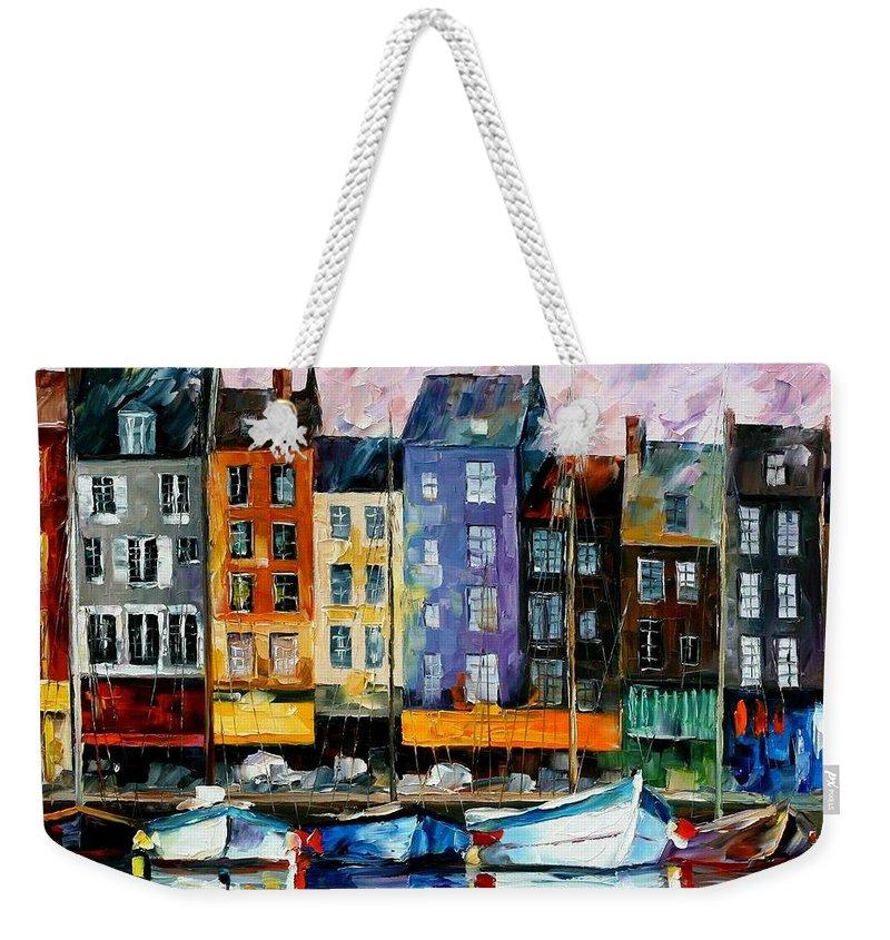 Afremov Weekender Tote Bag featuring the painting Honfleur - Normandie by Leonid Afremov