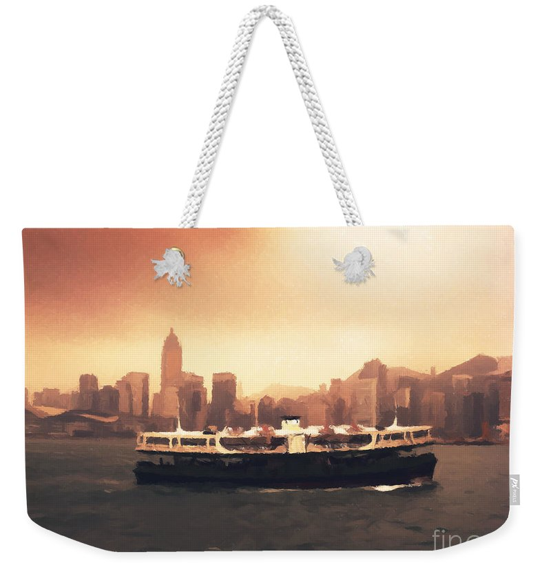 Hong Kong Weekender Tote Bag featuring the painting Hong Kong Harbour 01 by Pixel Chimp
