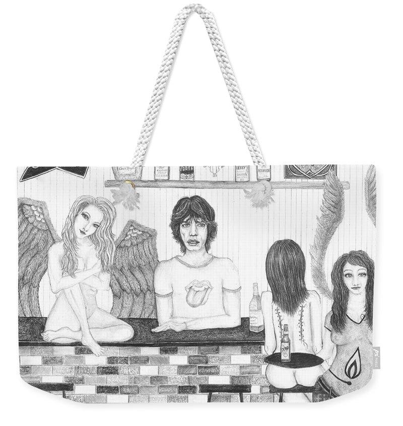 Wendy Wunstell Weekender Tote Bag featuring the drawing Honky Tonk Angels by Wendy Wunstell