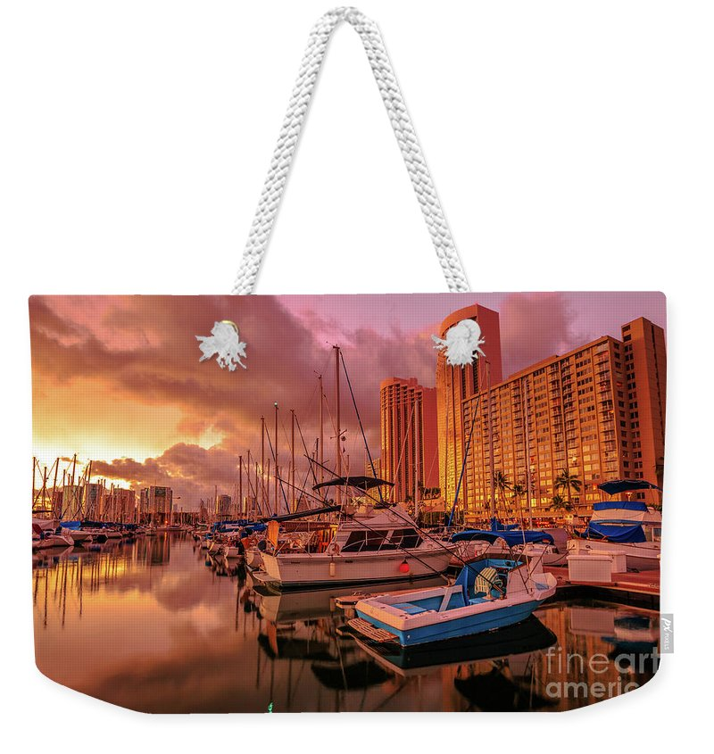 Ala Wai Harbor Weekender Tote Bag featuring the photograph Honolulu Waterfront Oahu by Benny Marty