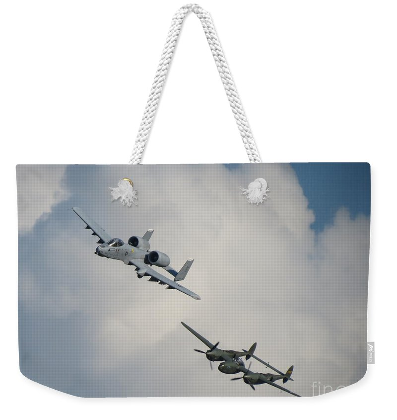 A-10 And P-38 Glacier Girl Weekender Tote Bag featuring the photograph Honor Flight by Aimee Mouw