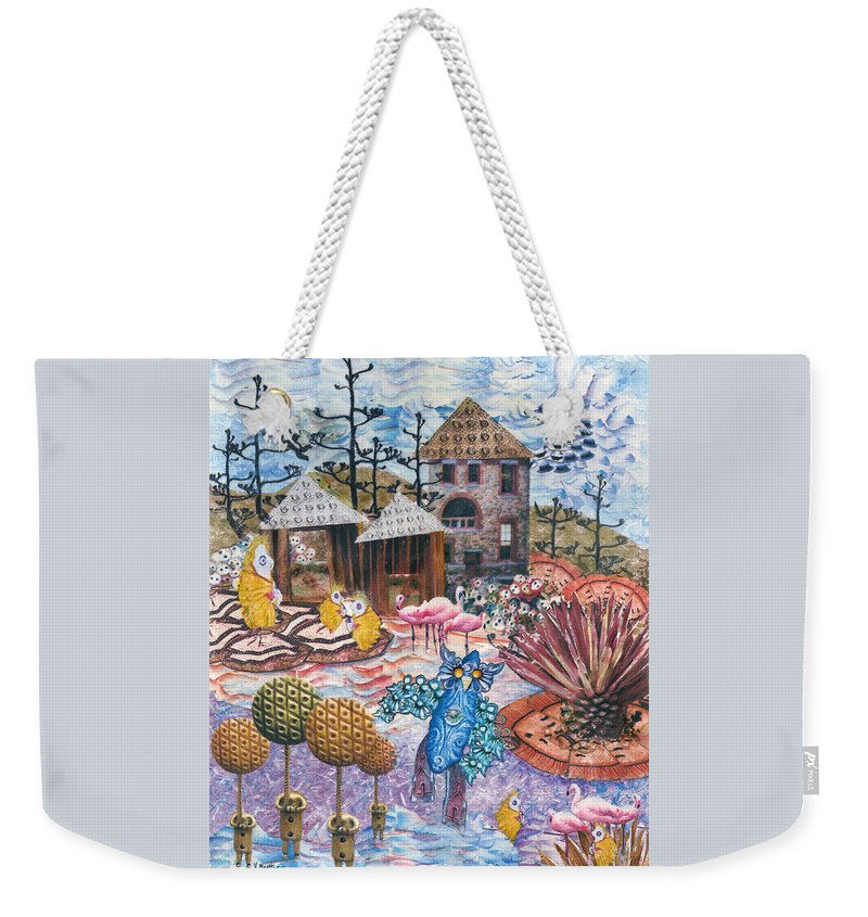 Abstract Weekender Tote Bag featuring the mixed media Hoo is watching the chicken coop by Valerie Meotti