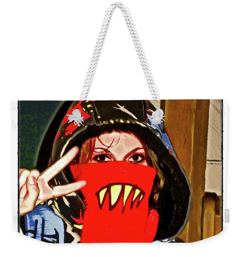 Eyes Weekender Tote Bag featuring the digital art Hooded Girl by Joan Minchak