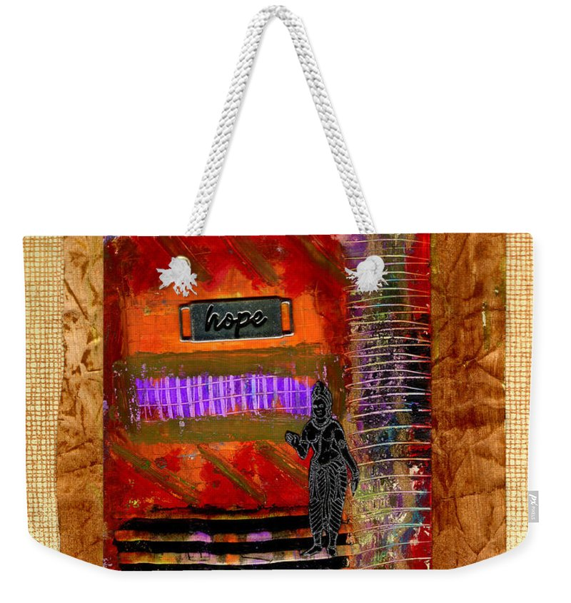 Gretting Cards Weekender Tote Bag featuring the mixed media Hope Advocate by Angela L Walker