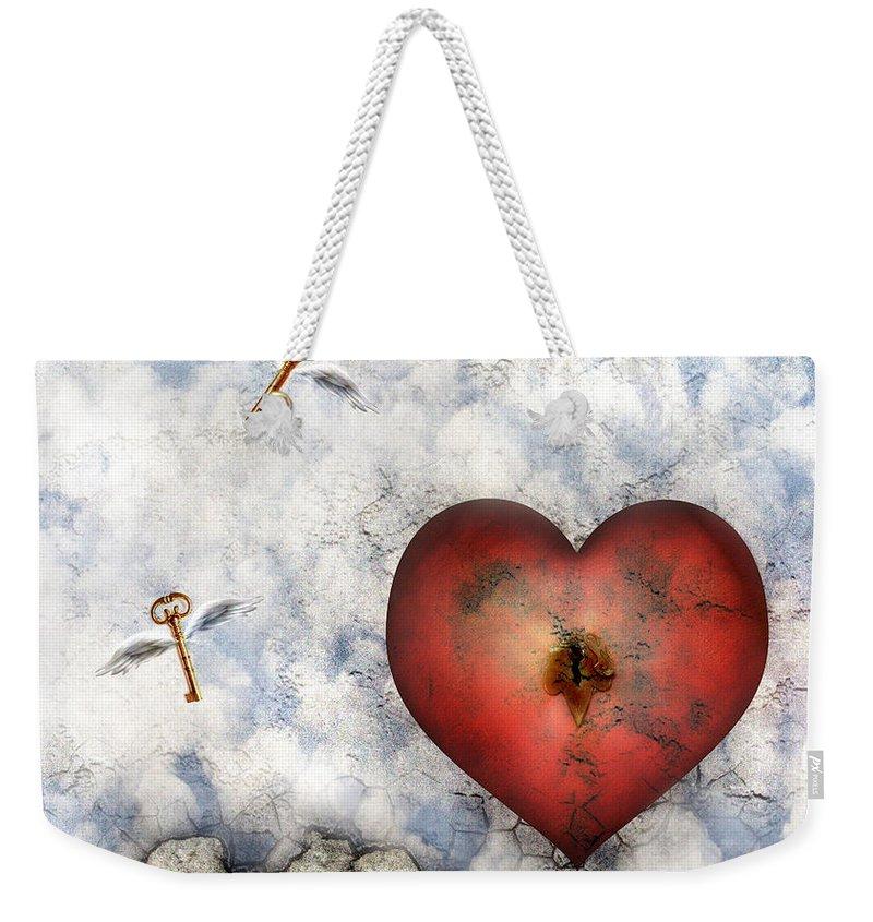 Heart Weekender Tote Bag featuring the digital art Hope Floats by Jacky Gerritsen
