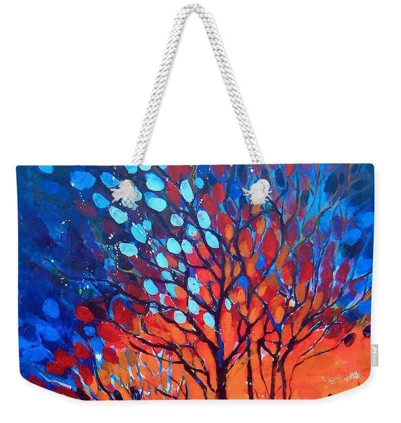 Blue Weekender Tote Bag featuring the painting Horizons by Linda Shackelford