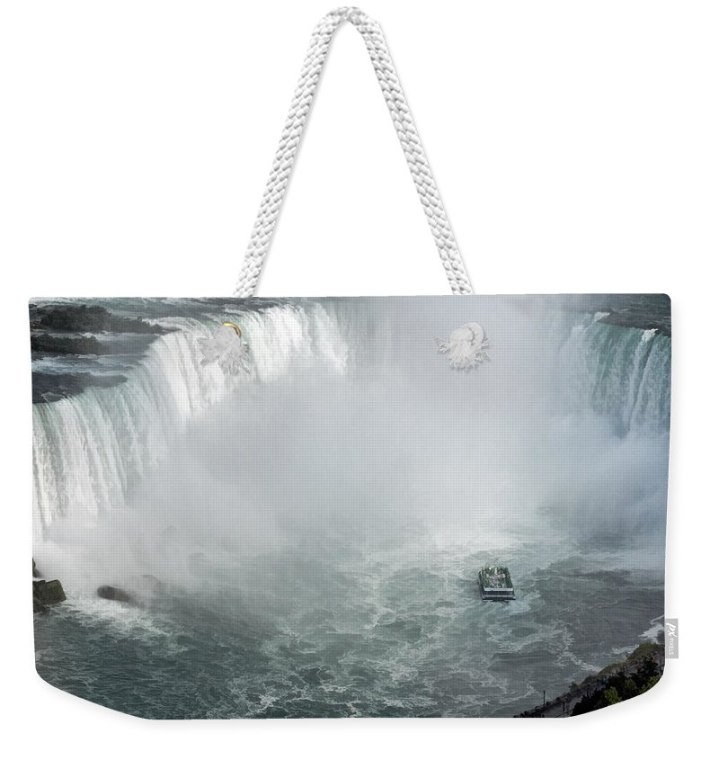 Horseshoe Niagara Falls Weekender Tote Bag featuring the photograph Hornblower Ferry At Horseshoe Falls by Ginger Wakem