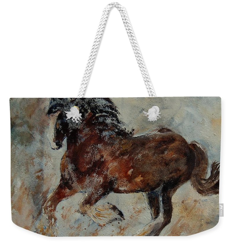 Animal Weekender Tote Bag featuring the painting Horse 561 by Pol Ledent