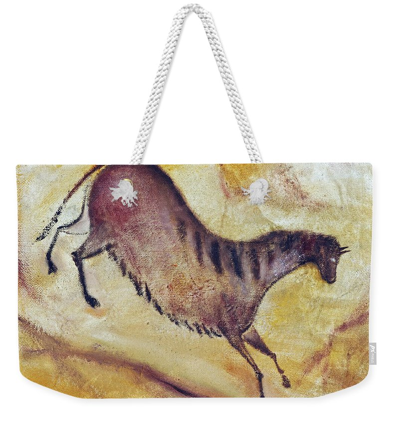 Prehistoric Weekender Tote Bag featuring the painting Horse A La Altamira by Michal Boubin