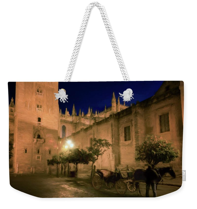 Joan Carroll Weekender Tote Bag featuring the photograph Horse And Carriage Seville Spain by Joan Carroll