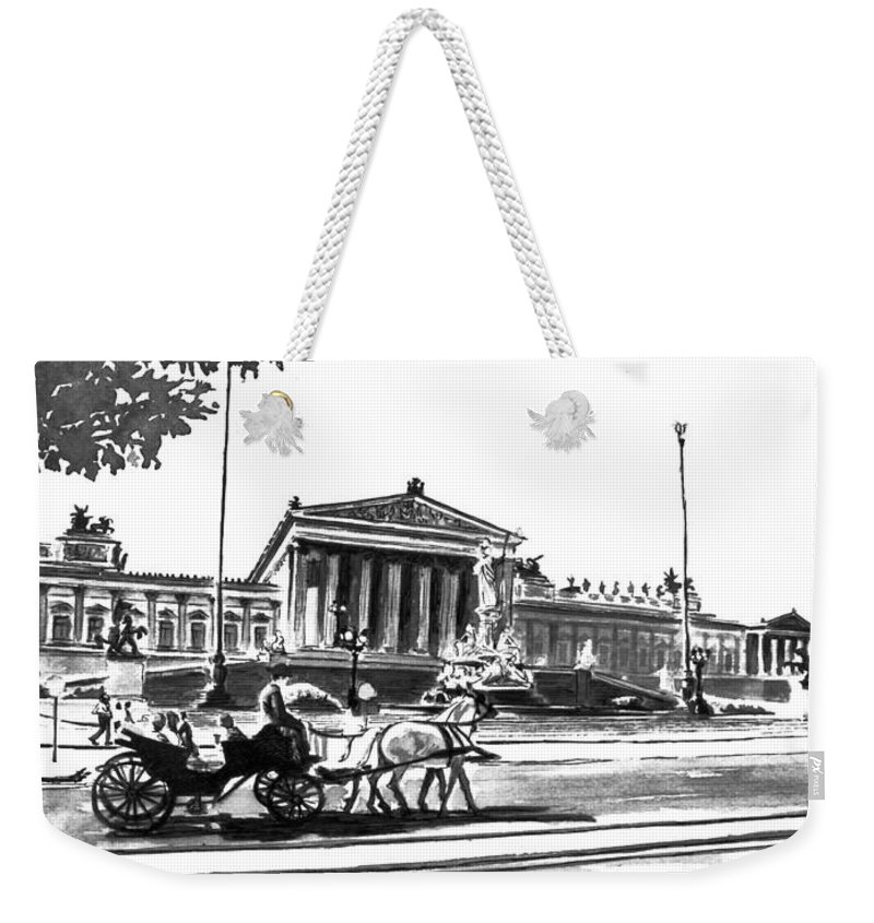 Vienna Weekender Tote Bag featuring the painting Horse And Parliament by Johannes Margreiter