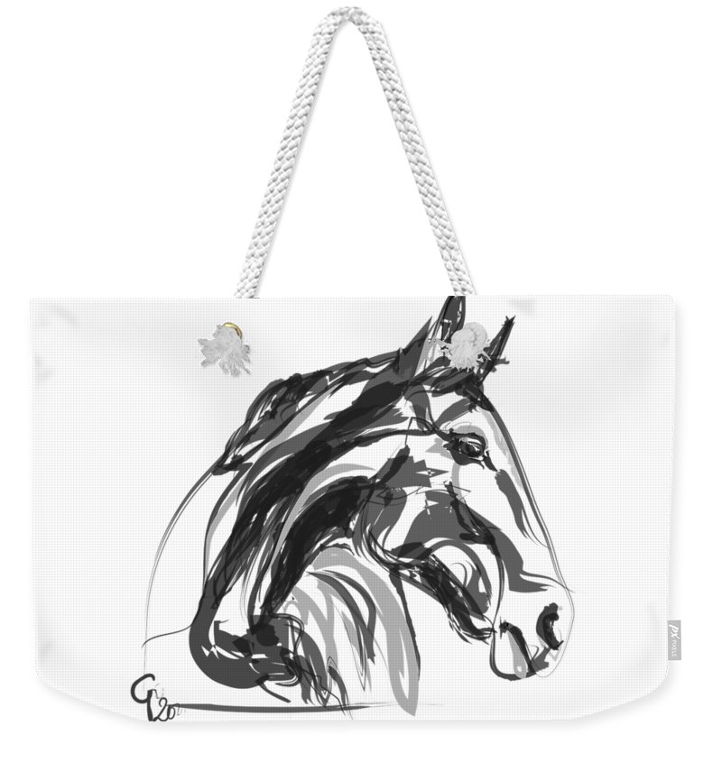Horse Portrait Weekender Tote Bag featuring the painting horse - Apple digital by Go Van Kampen