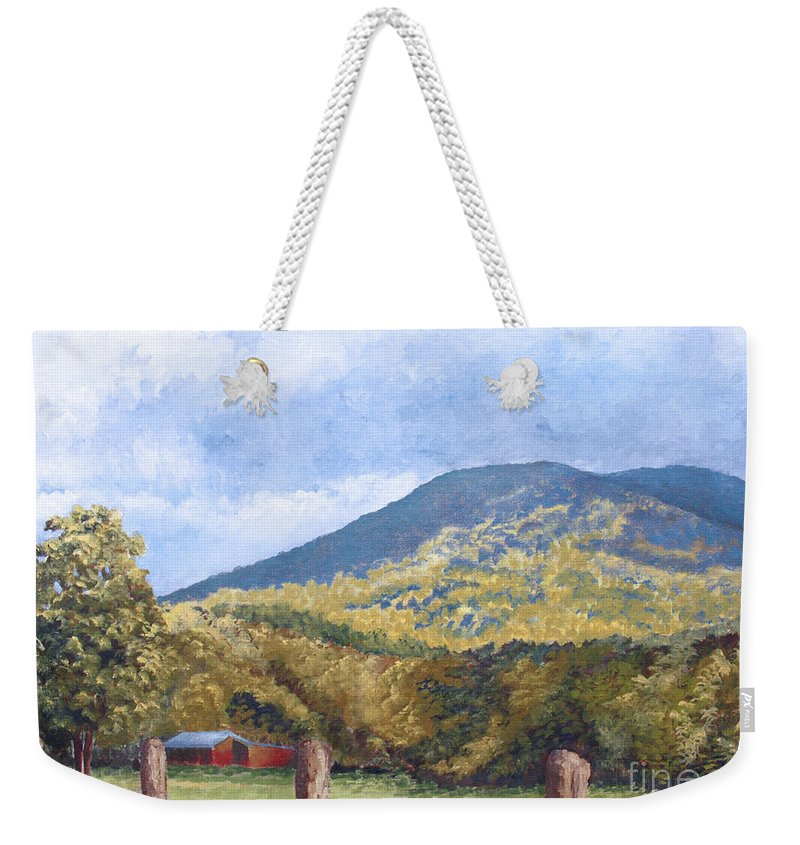 Landscape Weekender Tote Bag featuring the painting Horse Barn At Cades Cove by Todd A Blanchard
