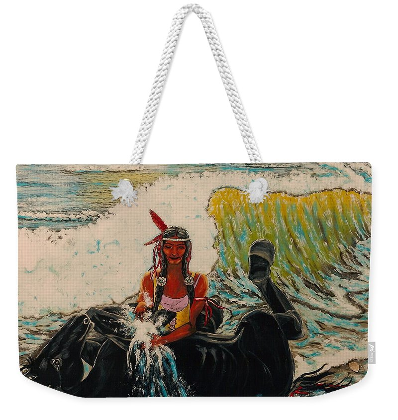 Horses Weekender Tote Bag featuring the painting Horse Bath by V Boge