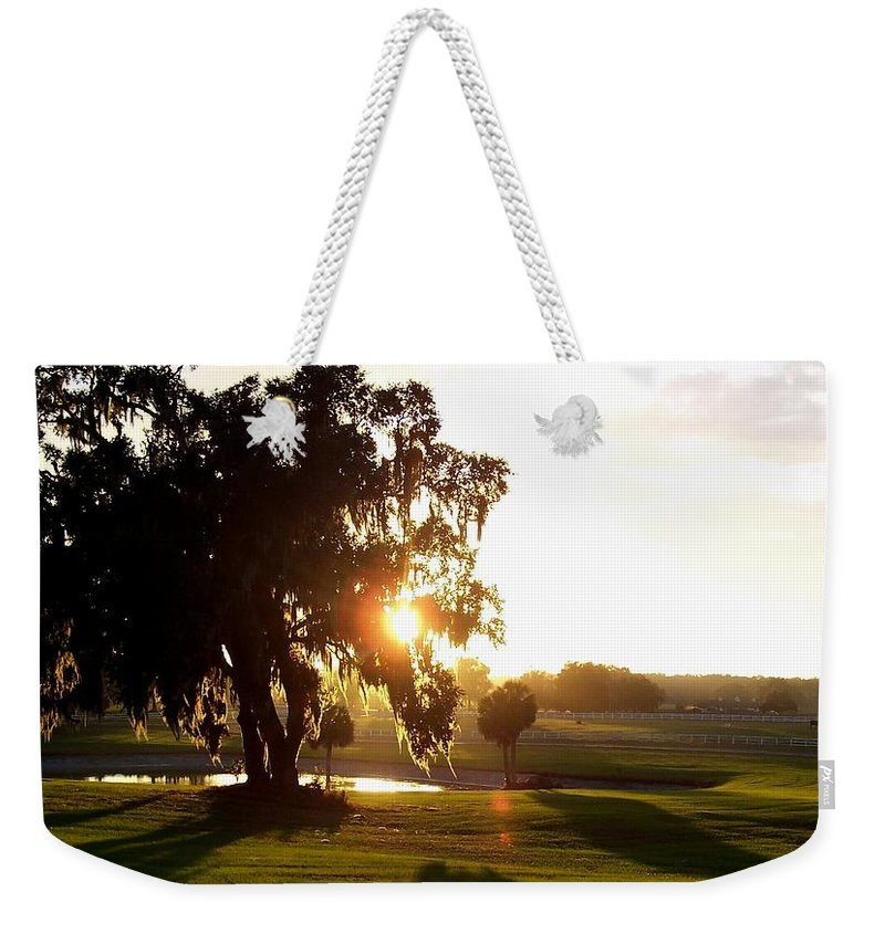 Sunset Weekender Tote Bag featuring the photograph Horse Country Sunset by Kristen Wesch