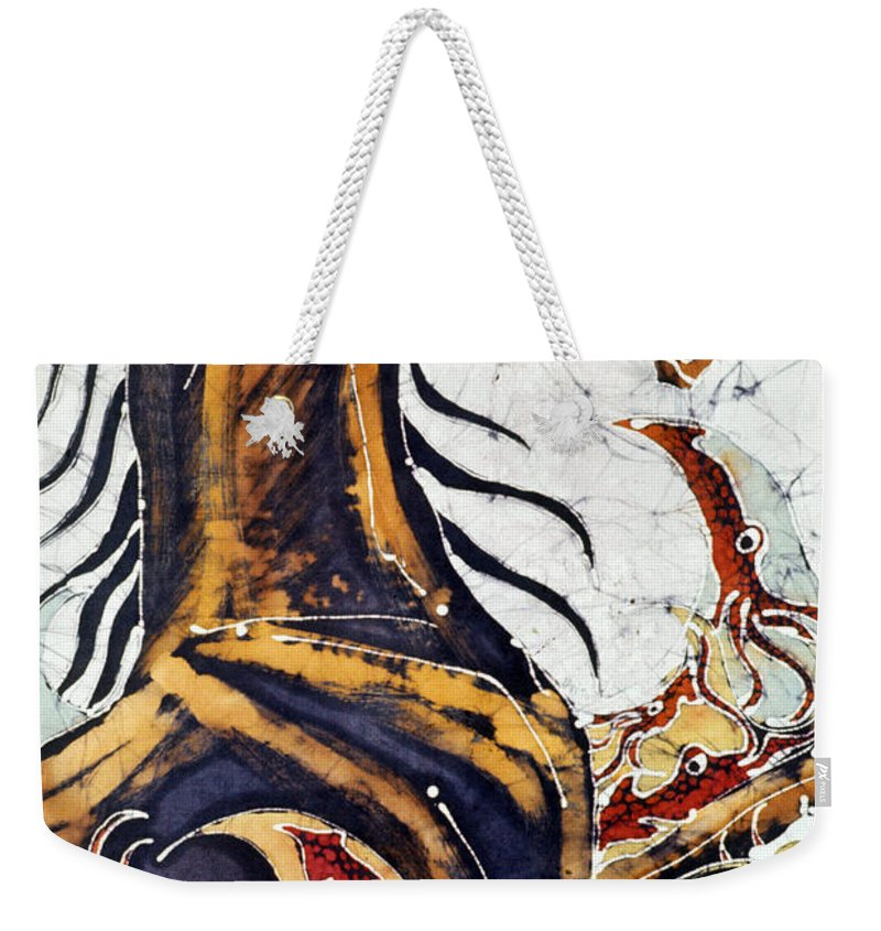 Sea Weekender Tote Bag featuring the tapestry - textile Horse Dances In Sea With Squid by Carol Law Conklin