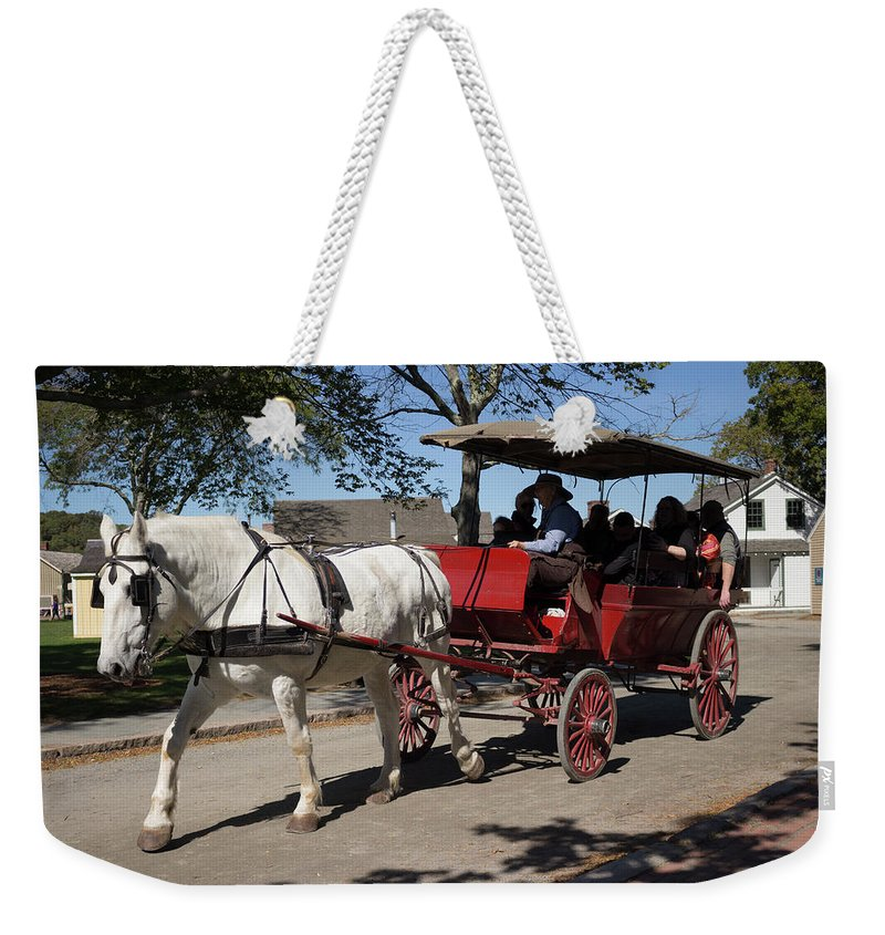 Horse Weekender Tote Bag featuring the photograph Horse Drawn Carriage In Mystic Seaport by Kirkodd Photography Of New England