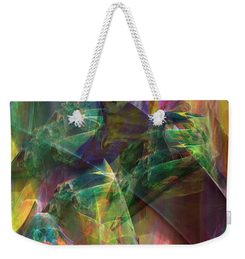 Horse Feathers Weekender Tote Bag featuring the digital art Horse Feathers by John Beck