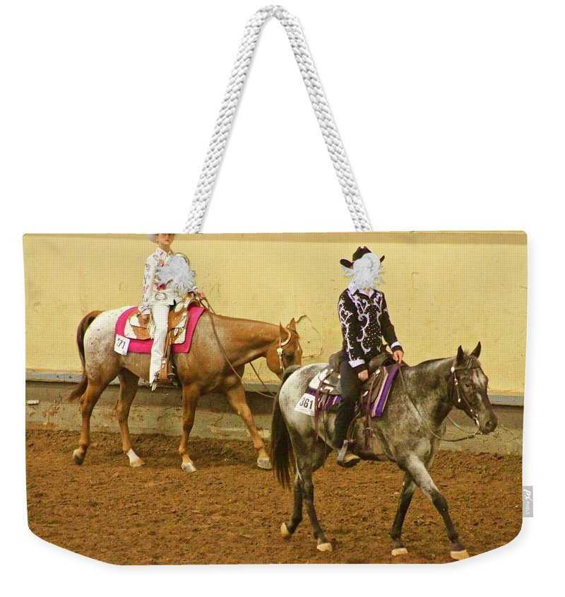 America Horse Cowgirl Weekender Tote Bag featuring the photograph Horse Girls by Mike Judice