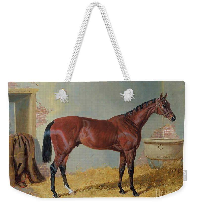 Mr S. Wrather's 'nutwith' In A Stable (oil On Canvas) By John Frederick Herring Snr (1795-1865) Weekender Tote Bag featuring the painting Horse In A Stable by John Frederick Herring Snr