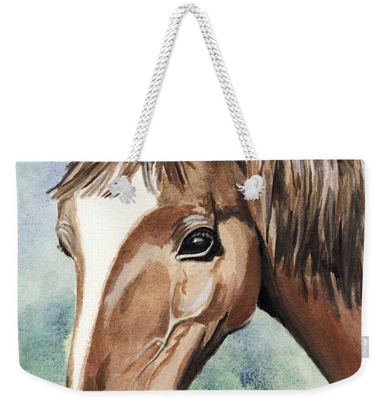 Horse Weekender Tote Bag featuring the painting Horse In Love by Alban Dizdari