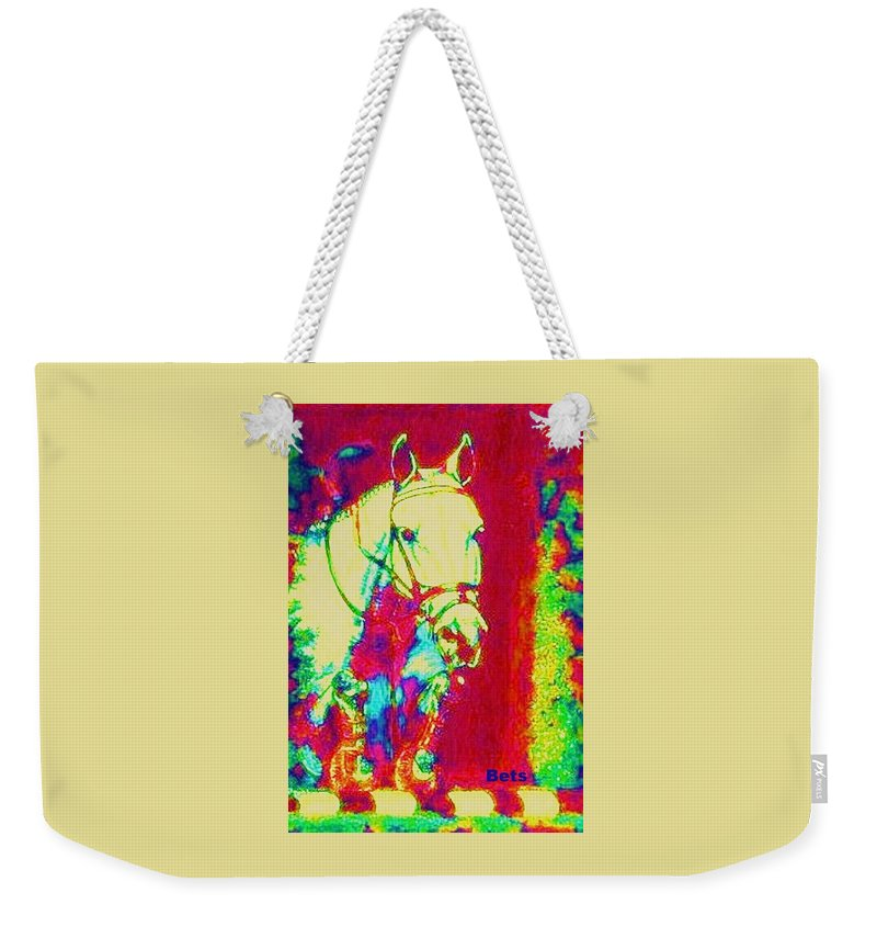 Horse Weekender Tote Bag featuring the painting Horse Painting Jumper No Faults Psychedelic by Bets Klieger