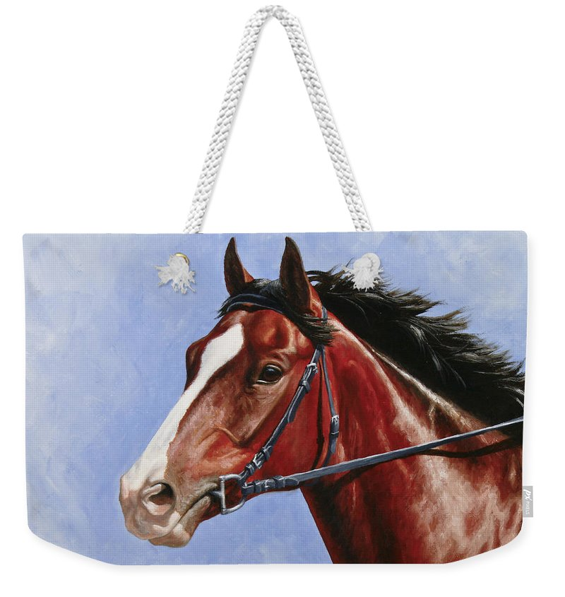 Horse Weekender Tote Bag featuring the painting Horse Painting - Determination by Crista Forest