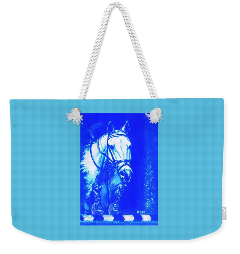 Horse Weekender Tote Bag featuring the painting Horse Painting Jumper No Faults Aquamarine by Bets Klieger