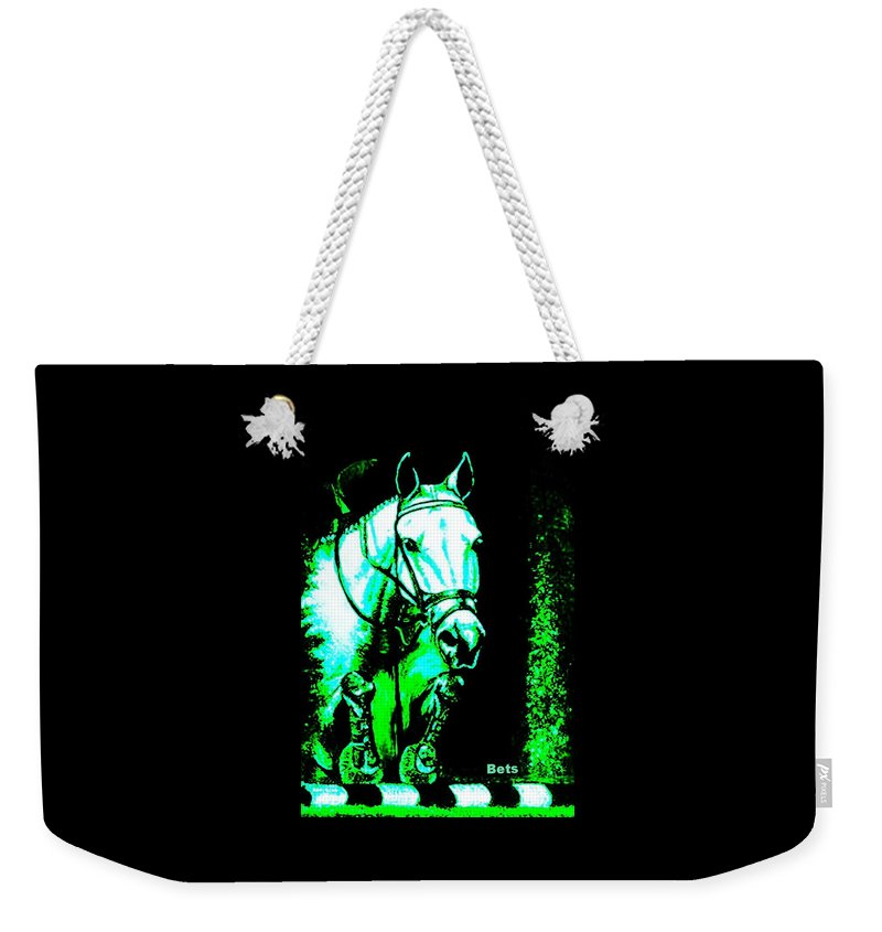 Horse Weekender Tote Bag featuring the painting Horse Painting Jumper No Faults Black Blue And Green by Bets Klieger