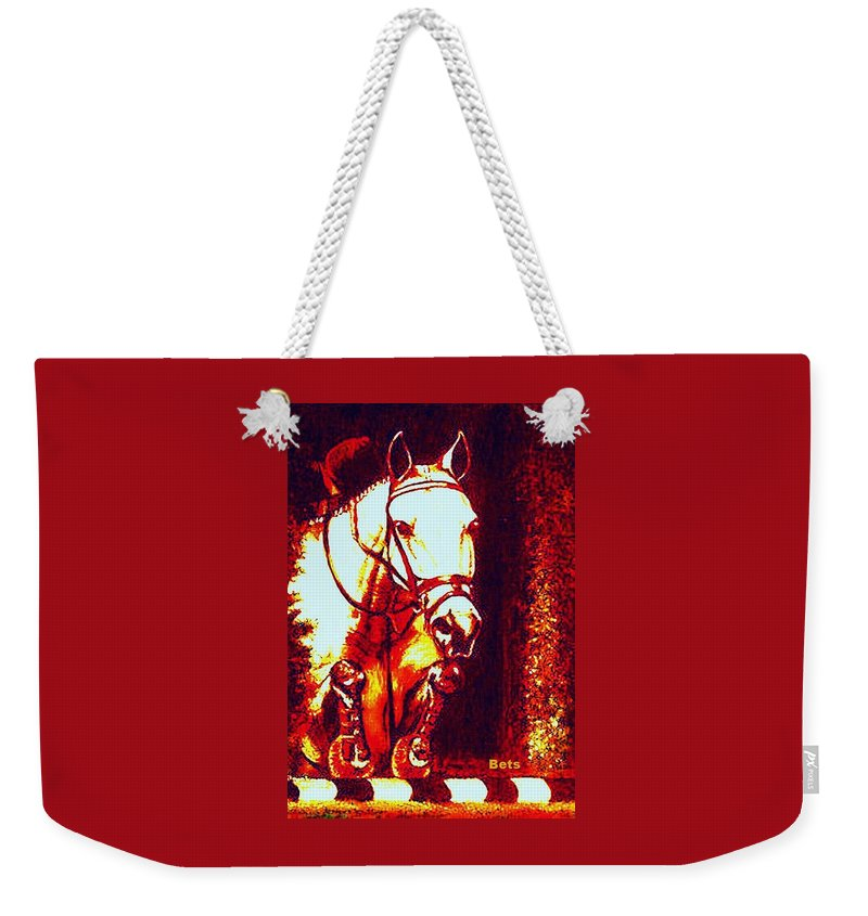 Horse Weekender Tote Bag featuring the painting Horse Painting Jumper No Faults Deep Blues And Reds by Bets Klieger