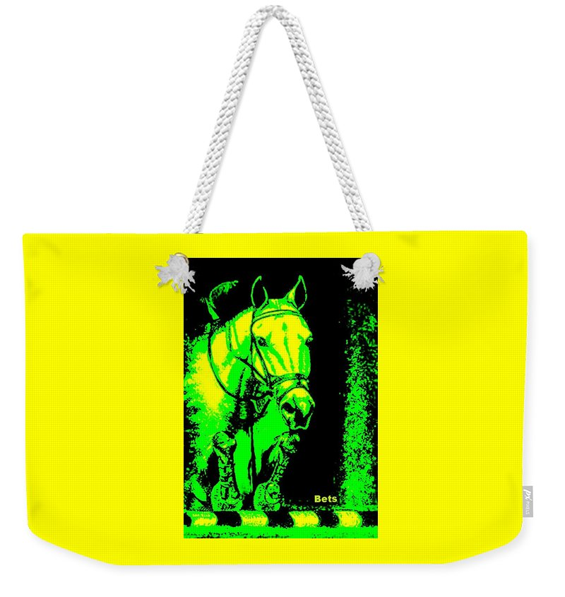 Horse Weekender Tote Bag featuring the painting Horse Painting Jumper No Faults Green And Yellow by Bets Klieger
