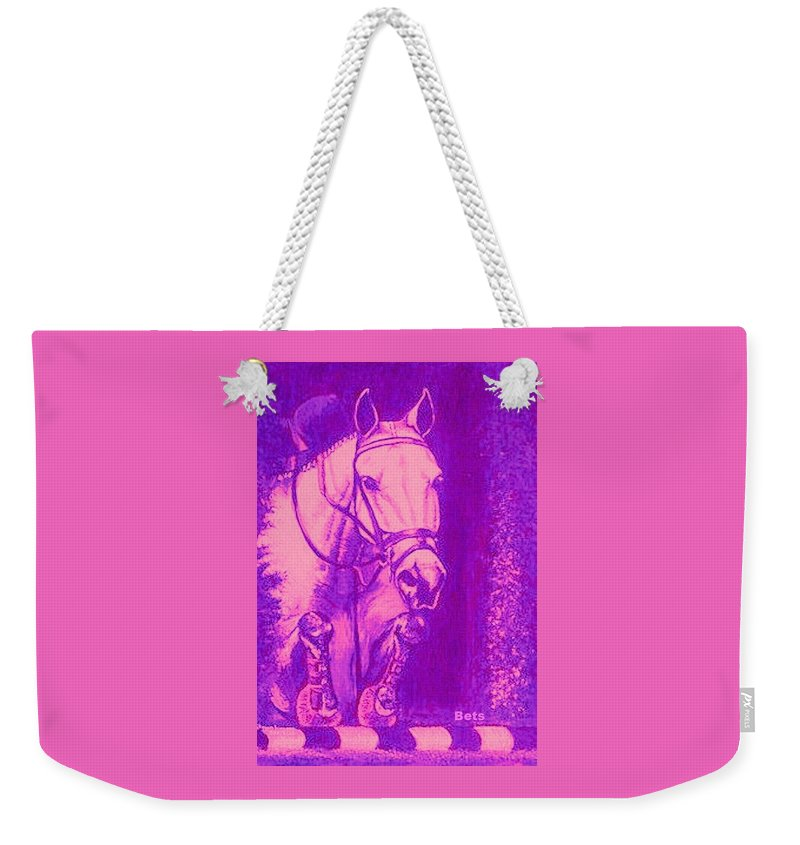 Horse Weekender Tote Bag featuring the painting Horse Painting Jumper No Faults Hot Pink by Bets Klieger