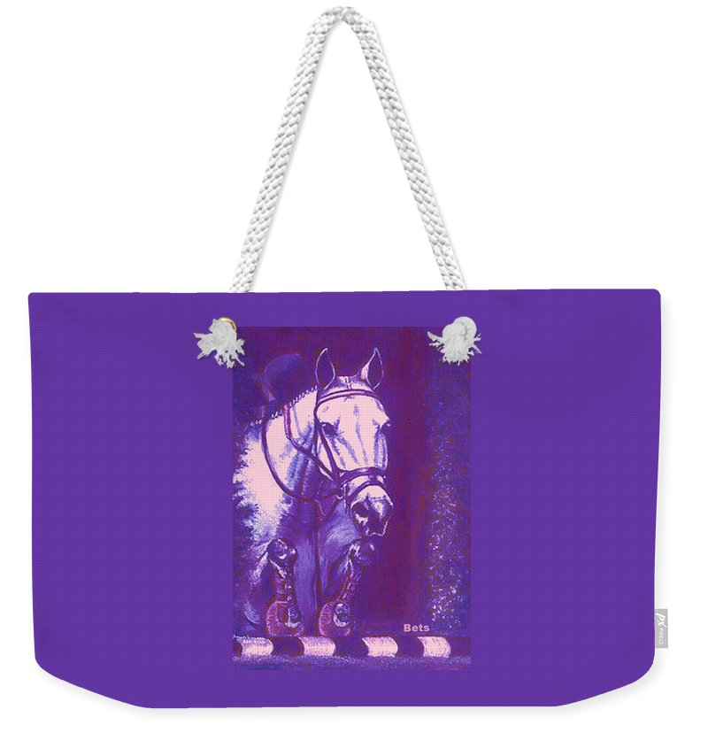Horse Weekender Tote Bag featuring the painting Horse Painting Jumper No Faults Lavender by Bets Klieger