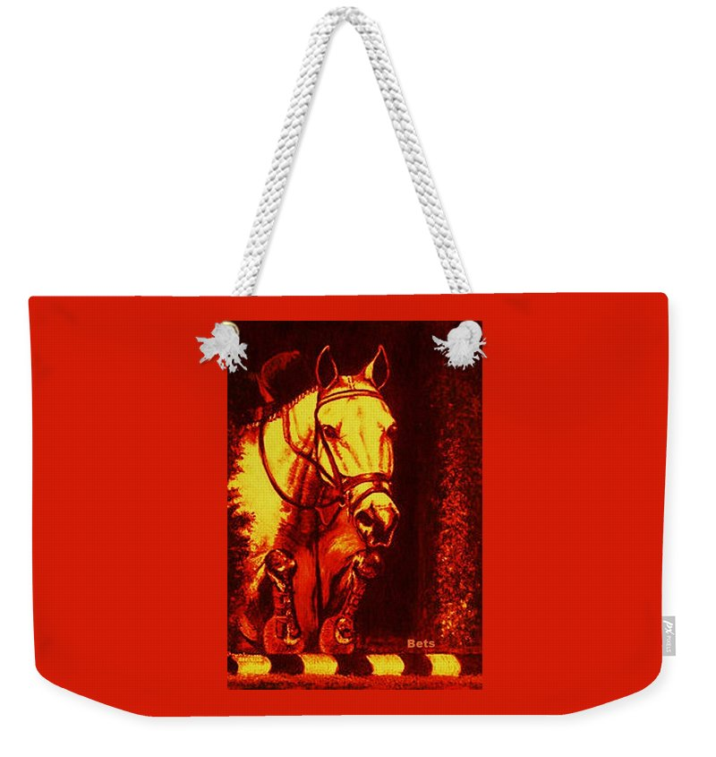 Horse Weekender Tote Bag featuring the painting Horse Painting Jumper No Faults Reds by Bets Klieger